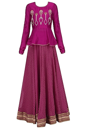 Cranberry Potted Plant Motifs Peplum Top and Skirt Set by Aekatri by Charu Vij