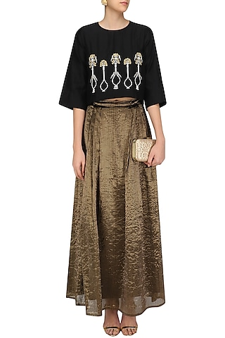 Black Potted Plant Motifs Top and Gold Skirt Set by Aekatri by Charu Vij