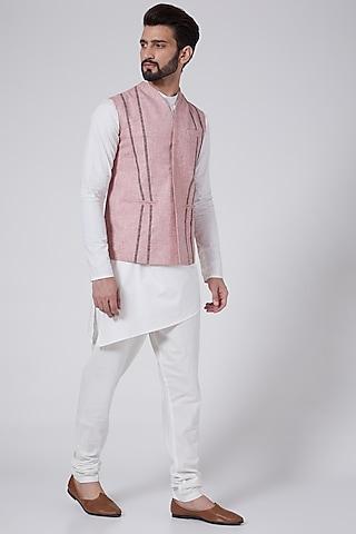 White Cotton Kurta Set With Nehru Jacket by Agape Men