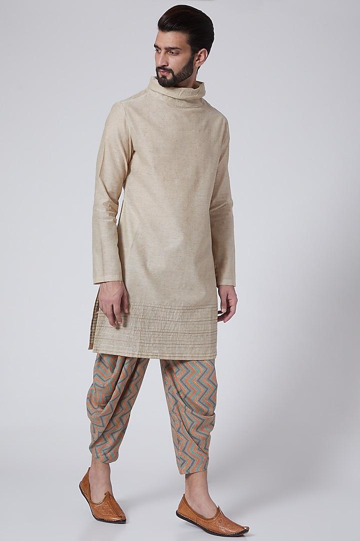 Beige Embroidered Cowl Kurta Set by Agape Men
