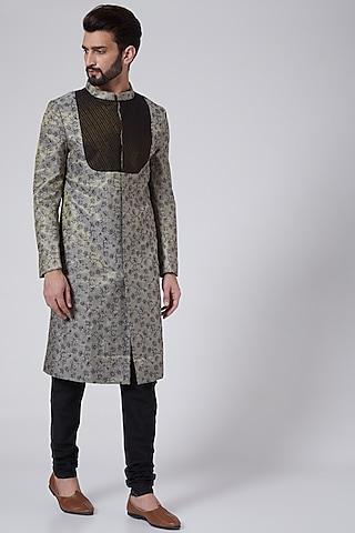 Grey Embroidered Metallic Sherwani Set by Agape Men