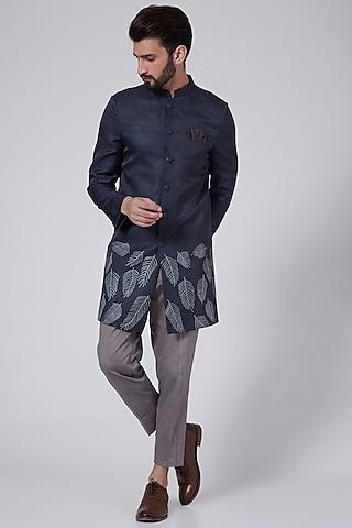 Ice Blue Printed & Embroidered Sherwani Set by Agape Men