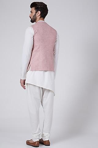 Blush Pink Checkered Nehru Jacket by Agape Men