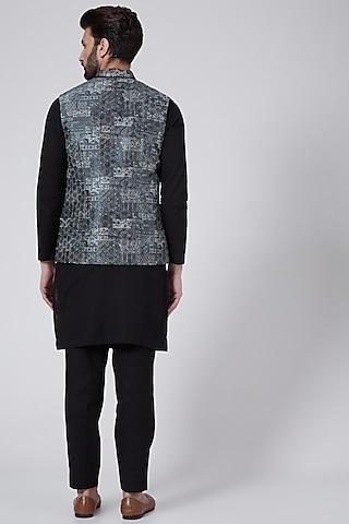 Black Printed Nehru Jacket  by Agape Men