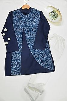 Royal Blue & White Embroidered Kurta Set by Agape Kids
