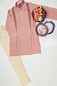 Peach Embroidered Kurta Set by Agape Kids
