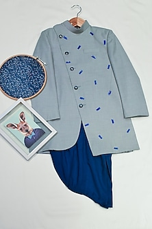 Dusty Blue Embroidered Sherwani Set by Agape Kids