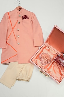 Cantaloupe Peach & White Sherwani Set by Agape Kids