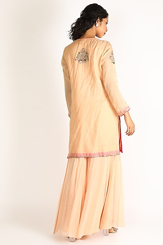 Peach Hand Embroidered Sharara Set by Anuradha Grewal