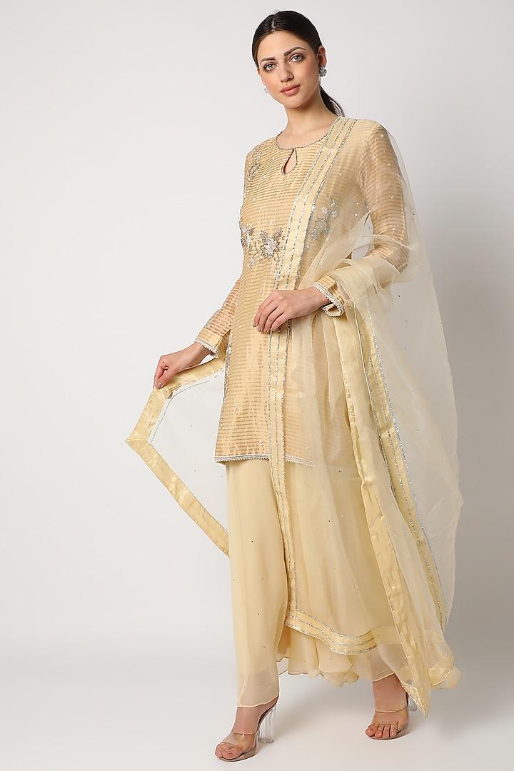 Beige Hand Embroidered Sharara Set by Anuradha Grewal