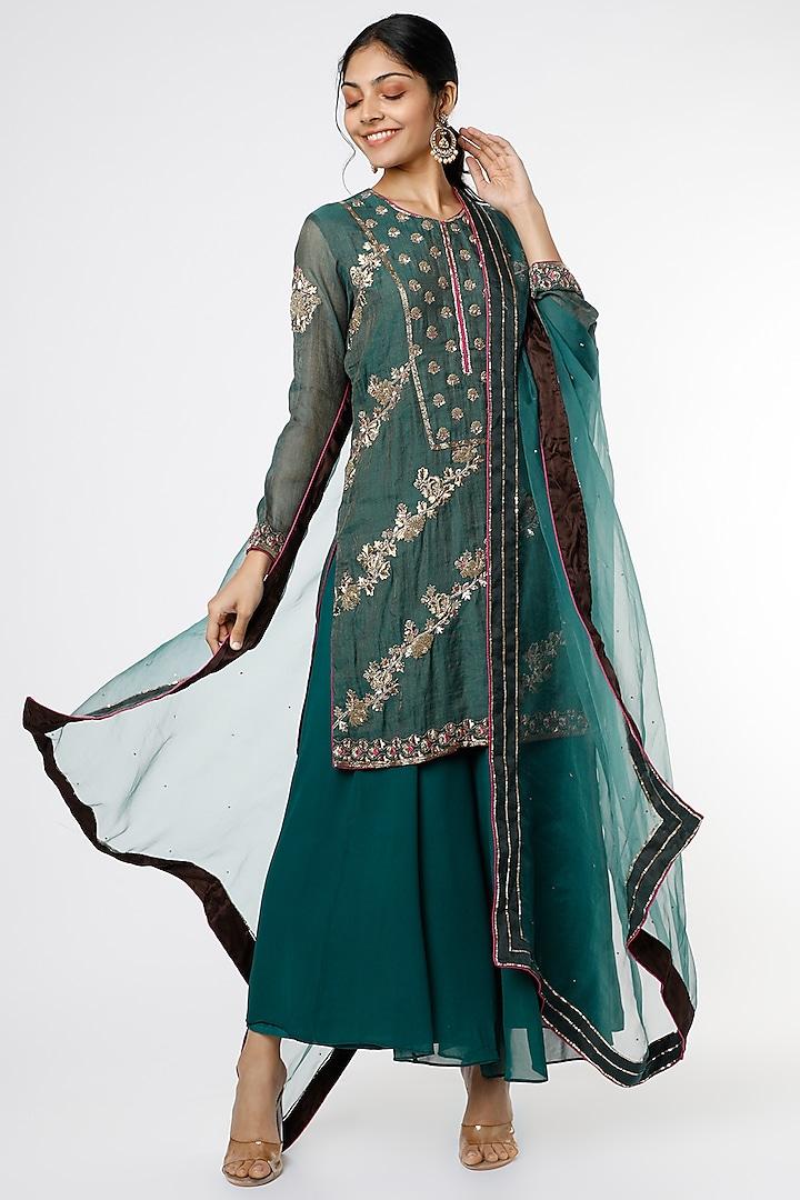 Emerald Green Hand Embroidered Sharara Set by anuradha grewal