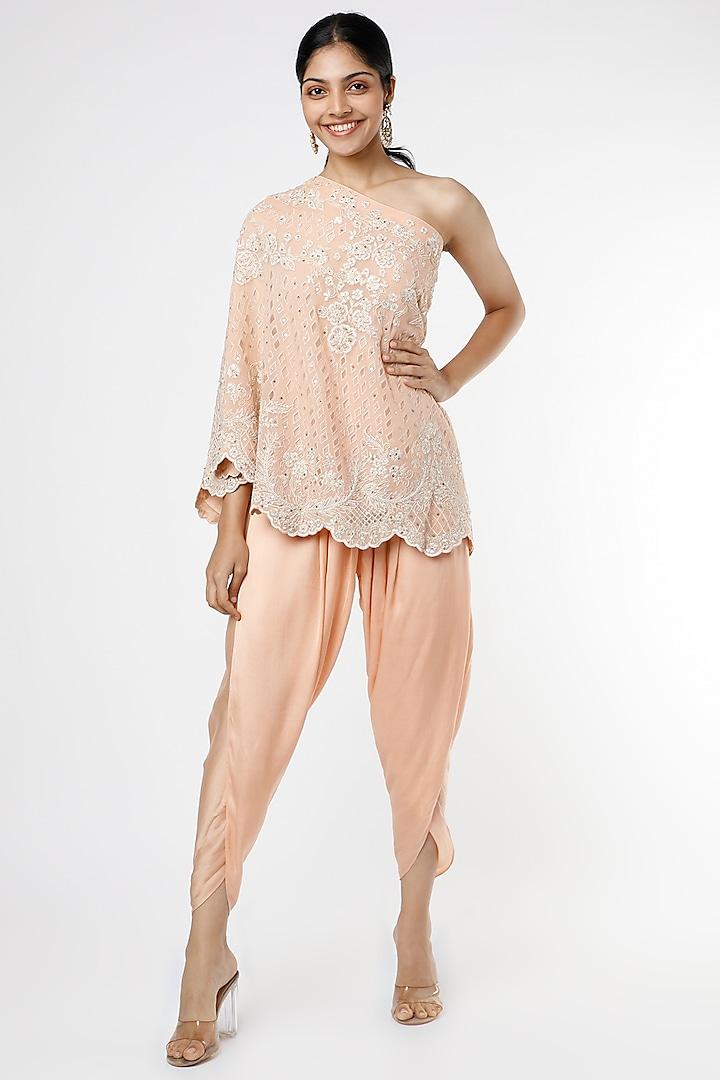 Blush Pink Applique Cape Set by anuradha grewal