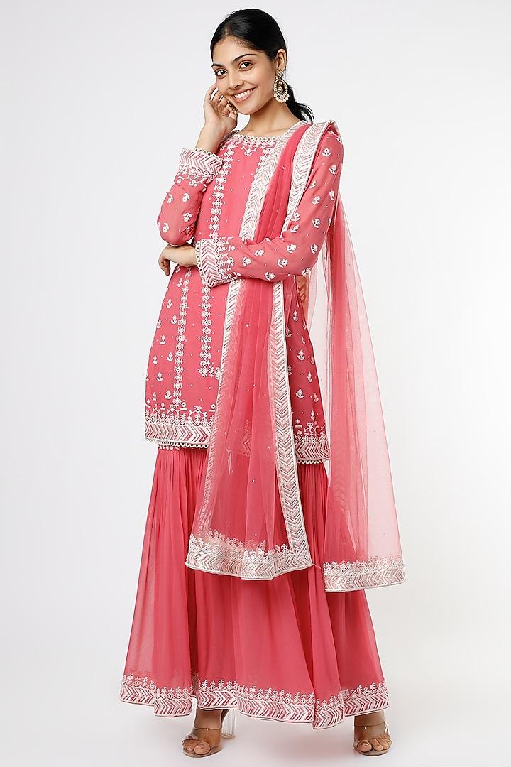 Fuchsia Embroidered Sharara Set by anuradha grewal