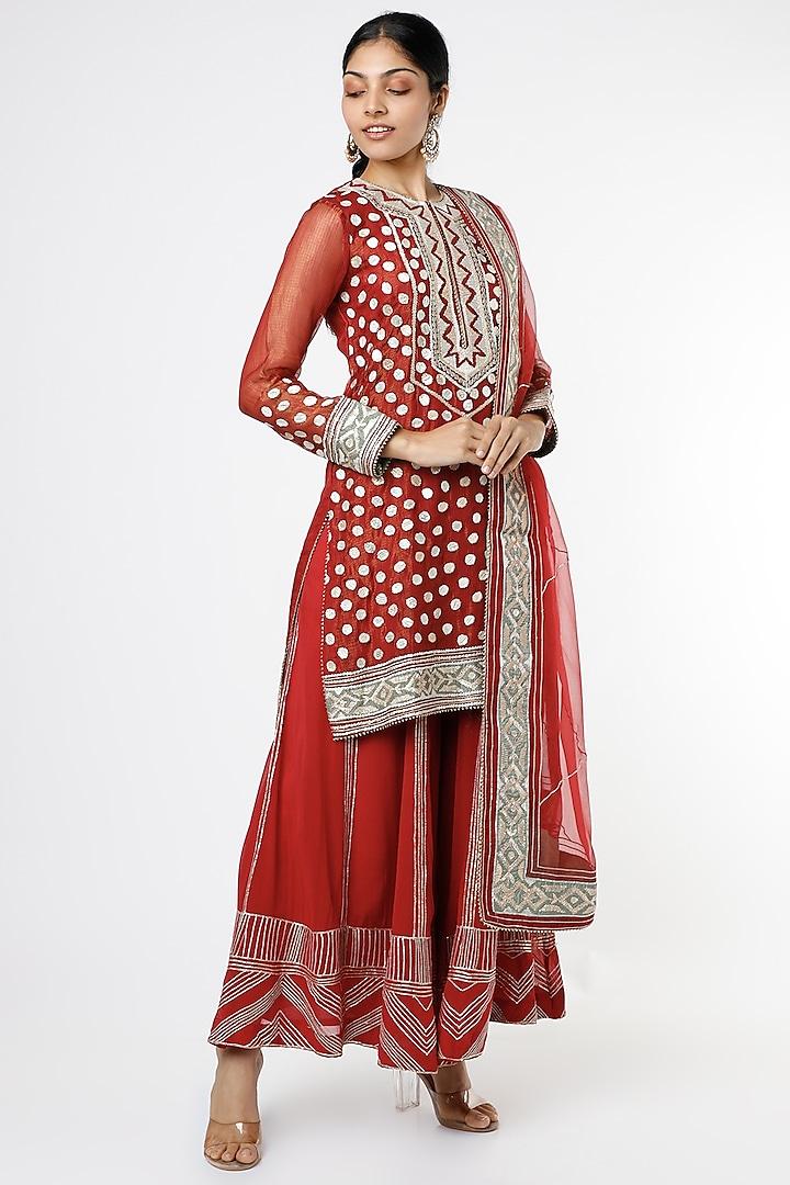 Red Embroidered Sharara Set by anuradha grewal