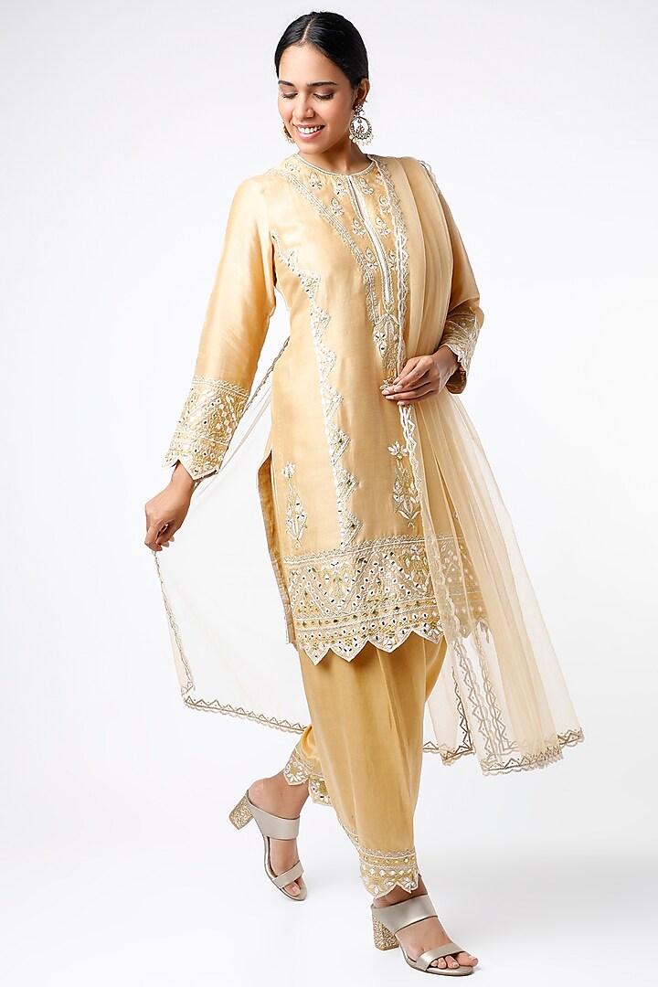 Beige Embroidered Short Kurta Set by anuradha grewal
