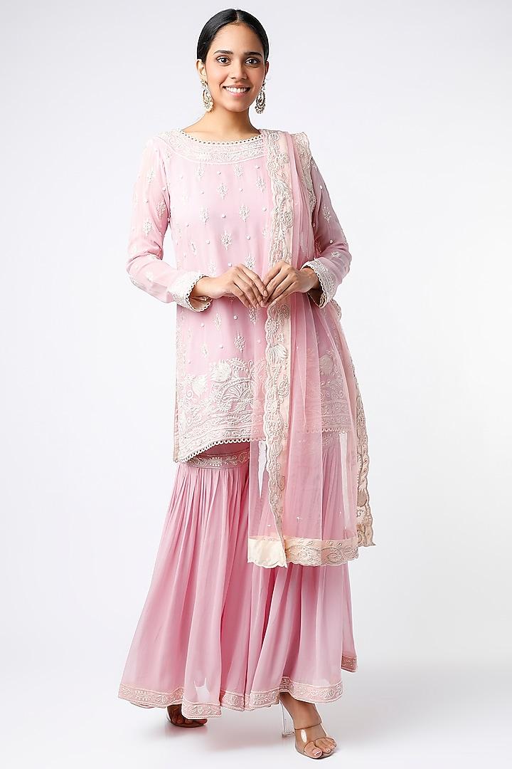Blush Pink Georgette Net Kurta Set by anuradha grewal