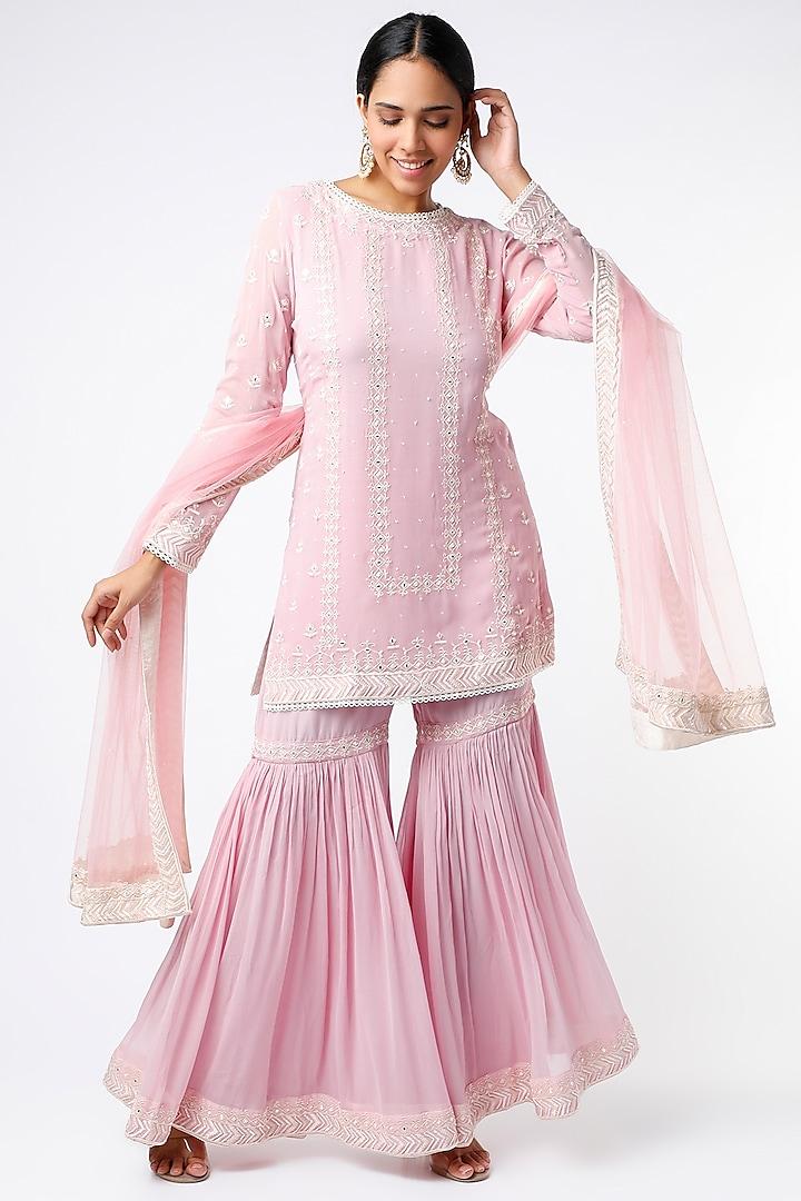 Blush Pink Kurta Set With Mirror Work by anuradha grewal