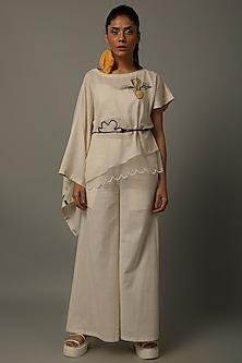 Ivory Embroidered Top With Pants by AMITA GUPTA SUSTAINABLE
