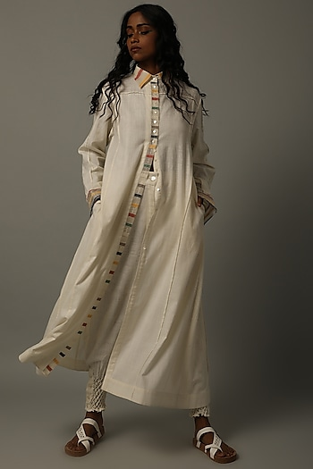 Ivory Embroidered Tunic With Trousers by AMITA GUPTA SUSTAINABLE