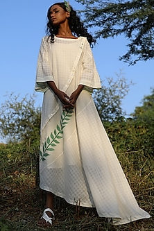 Ivory Handwoven Tunic With Slip by AMITA GUPTA SUSTAINABLE