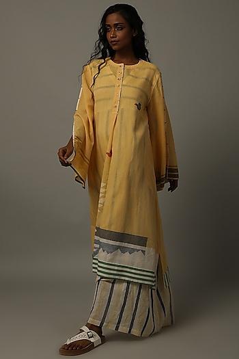 Yellow Handwoven Jamdani Tunic by AMITA GUPTA SUSTAINABLE