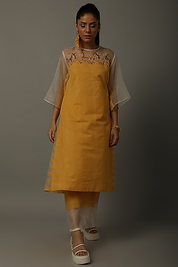 Yellow Embroidered Tunic With Trousers by AMITA GUPTA SUSTAINABLE