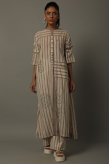 Mud Embroidered Tunic With Trousers by AMITA GUPTA SUSTAINABLE