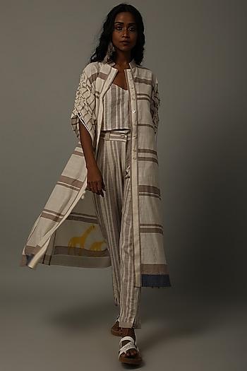 Mud & Ivory Embroidered Jacket Set by AMITA GUPTA SUSTAINABLE