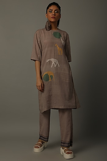 Mud Handwoven Tunic With Pants by AMITA GUPTA SUSTAINABLE