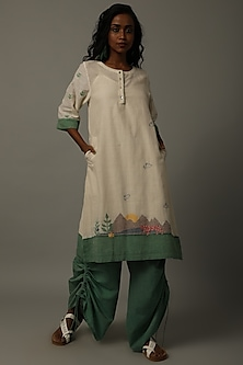 Ivory & Green Embroidered Tunic With Pants by AMITA GUPTA SUSTAINABLE