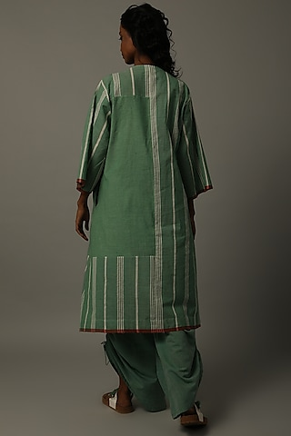 Green Hand Embroidered Tunic With Pants by AMITA GUPTA SUSTAINABLE