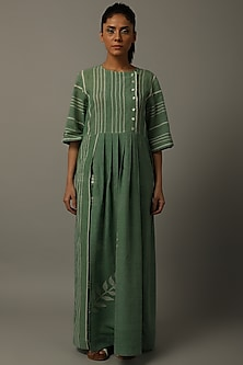 Green Leaf Motif Tunic With Pants by AMITA GUPTA SUSTAINABLE