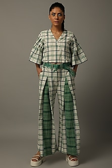 Ivory & Green Checkered Top With Pants by AMITA GUPTA SUSTAINABLE