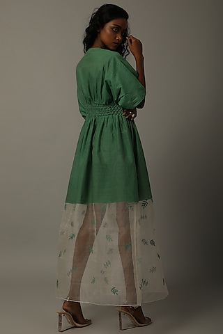 Green Embroidered Dress With Smocking by AMITA GUPTA SUSTAINABLE