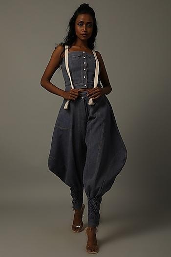 Indigo Blue Corset With Pants by AMITA GUPTA SUSTAINABLE