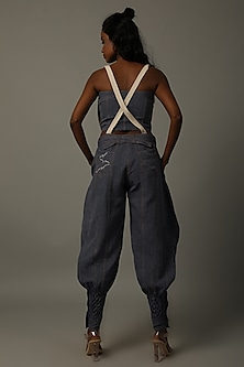 Indigo Blue Corset With Pants by AMITA GUPTA SUSTAINABLE