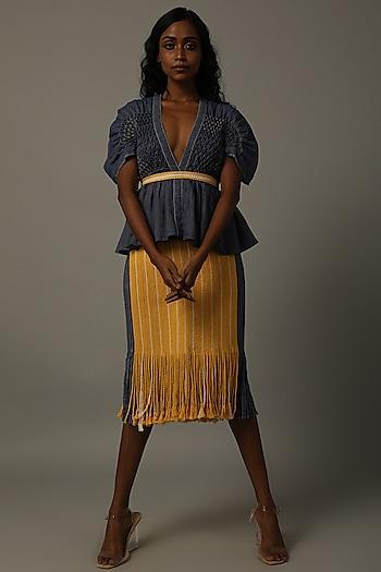 Indigo Blue Top With Yellow Skirt by AMITA GUPTA SUSTAINABLE