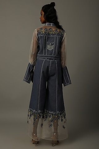 Indigo Blue Embroidered Jacket With Trousers by AMITA GUPTA SUSTAINABLE