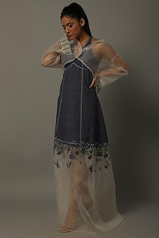 Indigo Blue & White Embroidered Dress With Shirt by AMITA GUPTA SUSTAINABLE