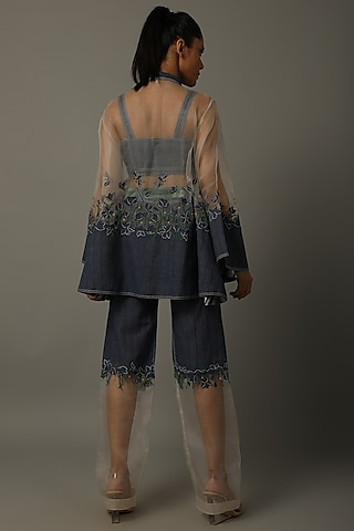 Indigo Blue Embroidered Dress With Top, Pants, & Belt by AMITA GUPTA SUSTAINABLE