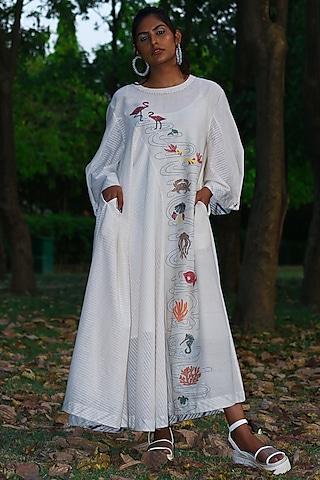 Ivory Embroidered Tunic Dress by Amita Gupta Sustainable