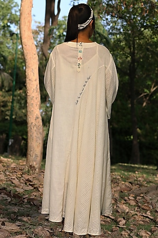 Ivory Hand Embroidered Tunic Dress by Amita Gupta Sustainable