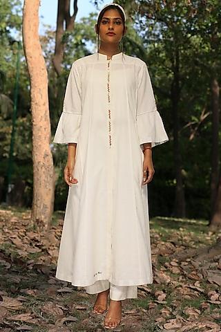 Ivory Handwoven & Hand Embroidered Tunic Set by Amita Gupta Sustainable