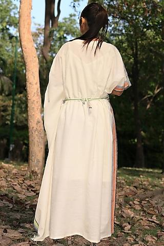 Ivory Handwoven Tunic With Belt by Amita Gupta Sustainable
