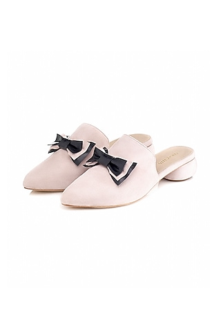 Nude Handmade Leather Mules by Augustha