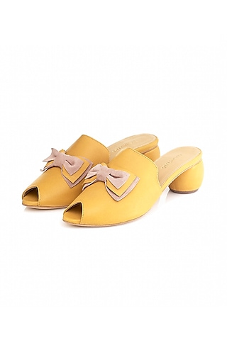 Yellow Handmade Leather Mules by Augustha