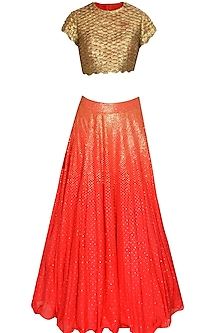 Coral orange sequins embroidered lehenga set by Agunj by Gunjan Arora