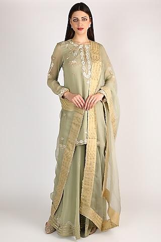 Mint Green Embroidered Sharara Set by Anuradha Grewal
