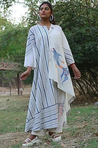Ivory & Green Embroidered Tunic Set by Amita Gupta Sustainable