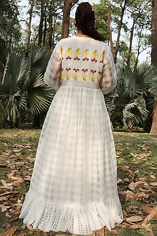 Ivory Handwoven Jacket Dress With Trousers by Amita Gupta Sustainable